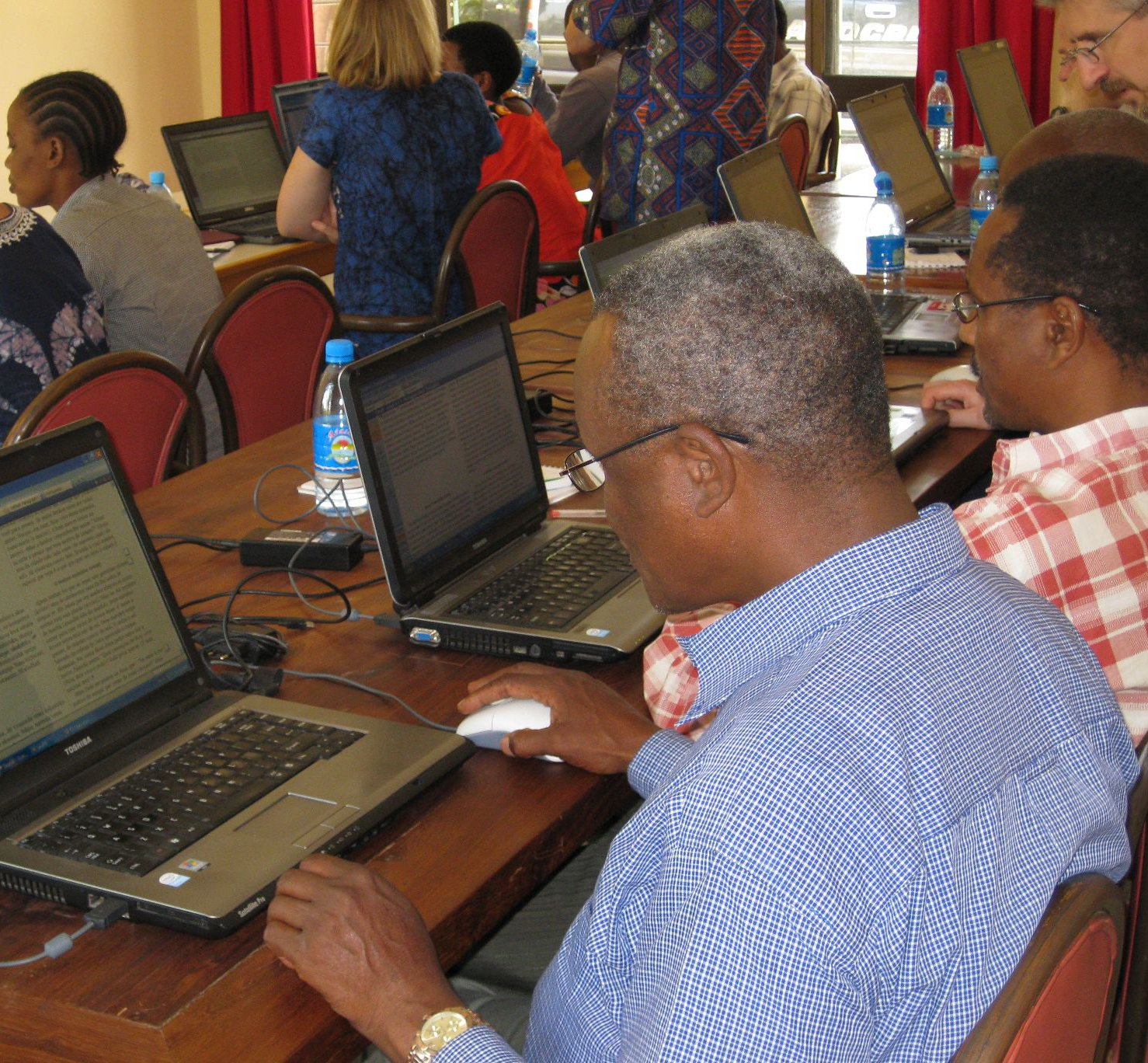 New users at a training workshop in Tanzania.