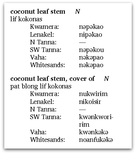 examples from Tanna comparative lexicon