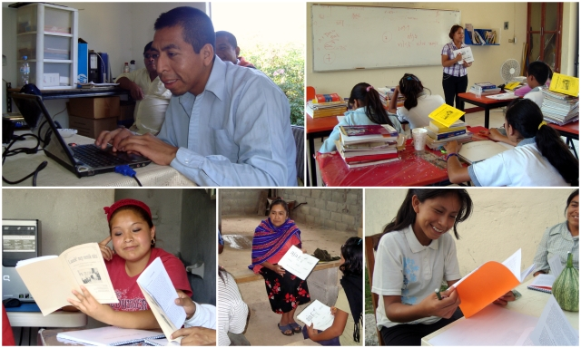 collage of photos from the writing process and literacy workshops